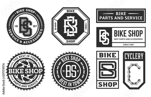 Fotografija  Set of vector bike shop, bicycle part and service logo, badges and icons isolate