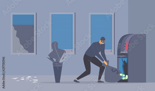 Photo Bank robbery attempt flat vector illustration