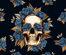 Metal Skull With  Floral Golde...