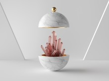 3d Abstract Minimalist Modern Background, Rose Pink Crystal Nugget Inside White Marble Ball, Isolated Object, Fashion Design Elements, Classy Decor, Simple Clean Design