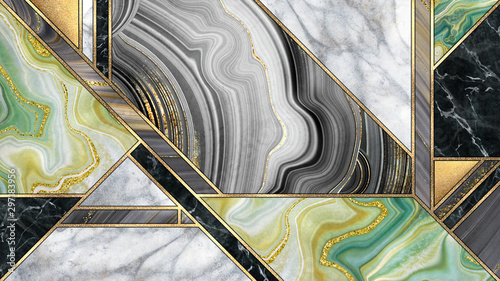 Canvas Prints Geometric abstract art deco background, modern minimalist mosaic inlay, texture of marble agate and gold, artistic painted marbling, artificial stone, marbled tile surface, minimal fashion marbling illustration