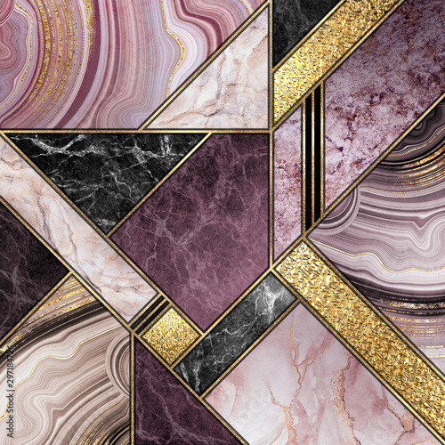 Canvas Prints Geometric modern marble mosaic, abstract background, art deco wallpaper, artificial stone texture, purple gold marbled tile, geometrical fashion marbling illustration