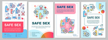 Safe Sex Brochure Template. Disease Prevention. Flyer, Booklet, Leaflet Print, Cover Design With Linear Illustrations. Vector Page Layouts For Magazines, Annual Reports, Advertising Posters