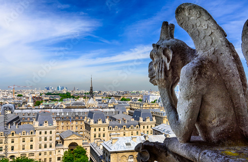 Poster de jardin Paris Gargoyle on Notre Dame de Paris on background of skyline of Paris, France.