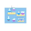 Desk elements of laboratory vector color illustration
