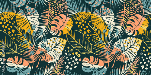 Obraz Abstract creative seamless pattern with tropical plants and artistic background. - fototapety do salonu
