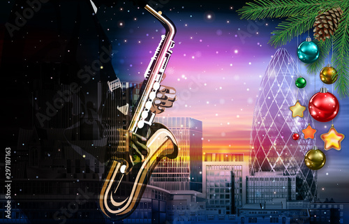 Piękne obrazy   christmas-pink-music-illustration-with-saxophone-player-on-cityscape-of-london-background