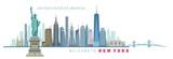 Fototapeta Nowy Jork - vector illustration of New York city silhouette