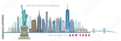 vector illustration of New York city silhouette Wallpaper Mural