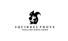 Squirrel And Phone Logo Vector...