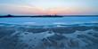 Salt lake in Australian desert at dusk - aerial panorama