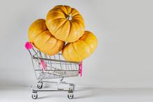 Halloween Pumpkins In Basket F...