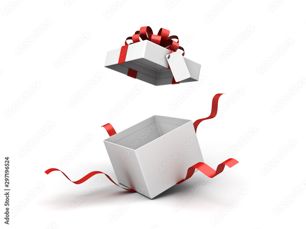 Fototapeta White present box or blank gift box with red ribbon bow and blank tag open isolated on white background with shadow 3D rendering