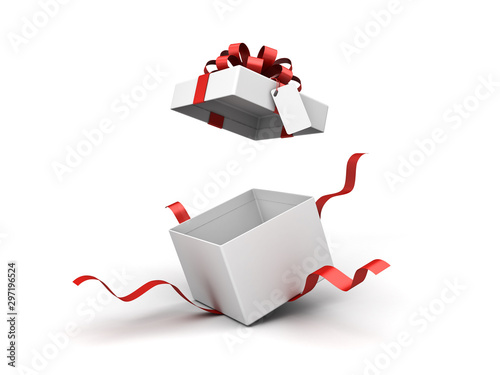 Fototapeta White present box or blank gift box with red ribbon bow and blank tag open isola
