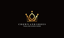 Crown And Shoes Logo Vectors Royalty Design Inspiration