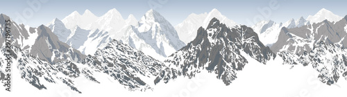 Foto auf Gartenposter Weiß vector seamless mountains karakoram himalayan panorama background