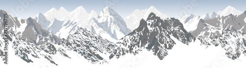 Papiers peints Blanc vector seamless mountains karakoram himalayan panorama background