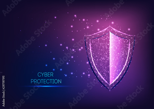 Canvastavla Futuristic glowing low polygonal guard shield symbol on dark blue to purple gradient background