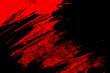 canvas print picture - black and red hand painted brush grunge background texture