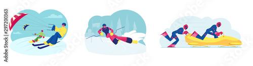 Leinwand Poster Set of Skikiting Snowboardkiting Bobsleigh and Ski Slalom Sports Activities