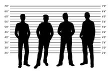 Police Lineup. Mugshot Background With Silhouette Of Different Men. Black Silhouette Of Four Men On White Background. Isolation. Vector Illustration