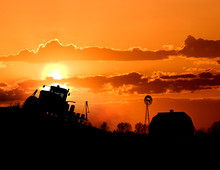 Sunset Farming Scene