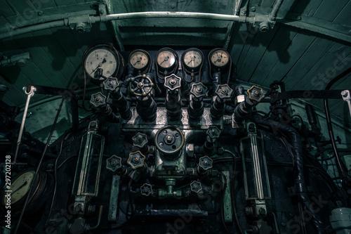 Old steam train control panel Fototapet