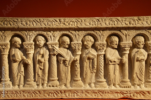 Photo Sarcophagus frieze of the 12 apostles