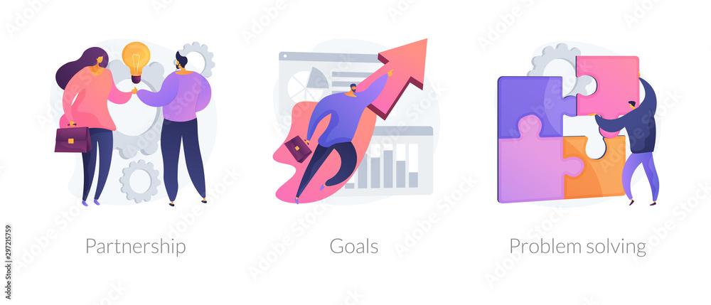 Fototapeta Successful business icons set. Effective teamwork, career promotion, solution development. Partnership, goals, problem solving metaphors. Vector isolated concept metaphor illustrations