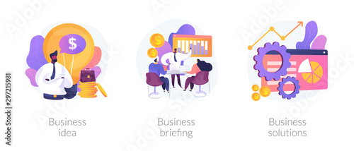 Obraz Successful development icons set. Innovative project, team building, analytical software. Business idea, business briefing, business solutions metaphors. Vector isolated concept metaphor illustrations - fototapety do salonu