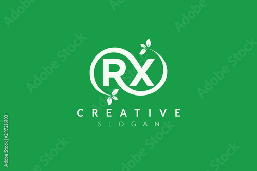 Monogram logo design combining letters R and X and leaves Wallpaper Mural