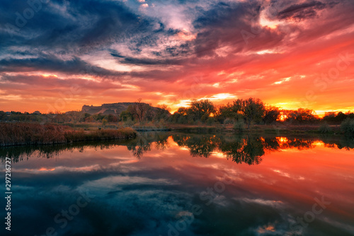 Poster Corail sunset over the lake