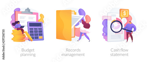 Fototapeta Money savings estimation, files organization system, financial report icons set. Budget planning, records management, cash flow statement metaphors. Vector isolated concept metaphor illustrations obraz