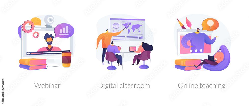 Fototapeta Educational web seminar, internet classes, professional personal teacher service icons set. Webinar, digital classroom, online teaching metaphors. Vector isolated concept metaphor illustrations