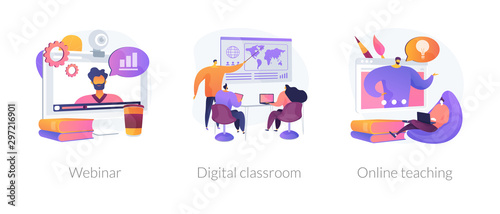Fotografija Educational web seminar, internet classes, professional personal teacher service icons set