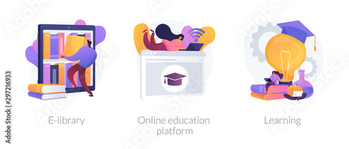 Fotografie, Obraz Internet bookstore, remote training classes service, academic graduation icons set