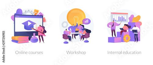 Internet video seminar, business school graduation, corporate training classes icons set Fotobehang