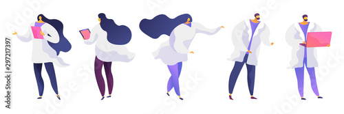 Cuadros en Lienzo  People in white coats flat vector illustrations set