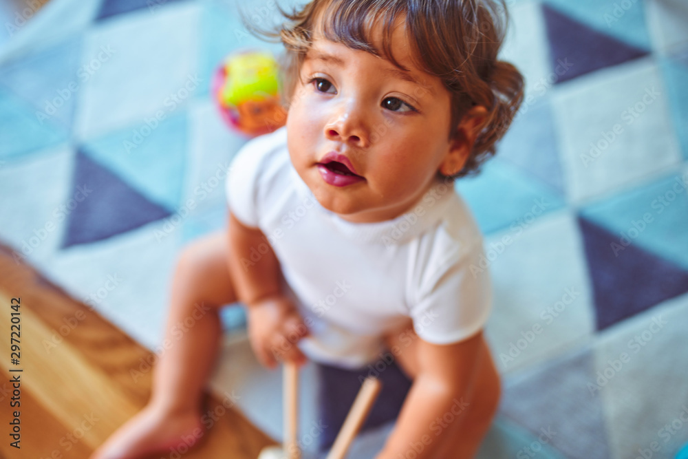 Fototapety, obrazy: Beautiful toddler child girl playing with toys on the carpet