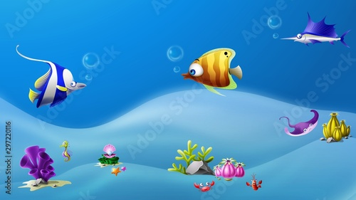 tropical-fish-in-the-sea-undersea-environment-illustration