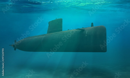 Naval submarine submerge deep underwater near to ocean floor Canvas Print