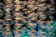 Close-up Bubble Chandelier Ceiling Light With Selective Focus.
