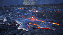 Wide Shot Of A Lava Flow From ...