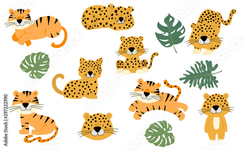 fototapeta na szkło Cute animal object collection with leopard,tiger. illustration for icon,logo,sticker,printable