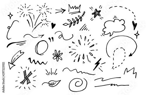 Obraz Vector hand drawn collection of design element. curly swishes, swoops, swirl, arrow, heart, love, crown, flower, star, firework, highlight text and emphasis element. use for concept design - fototapety do salonu