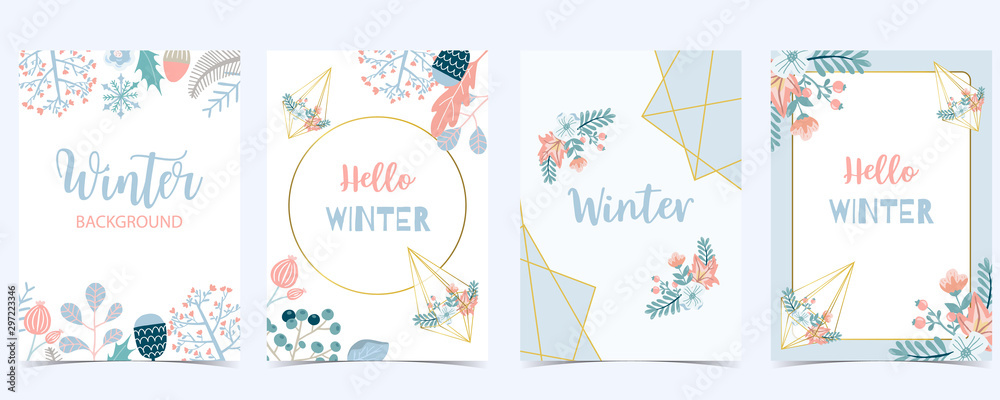 Fototapety, obrazy: Collection of winter background set with leaves,flower,leaves,frame.Editable vector illustration for birthday invitation,postcard and website banner