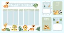 Cute Animal Weekly Planner Bac...
