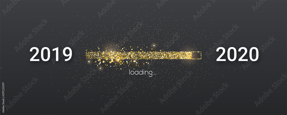 Fototapeta Golden loading bar with transition from 2019 to 2020 new year. Golden glittering dust on black background. Happy New Year card with progress bar. Vector illustration EPS10