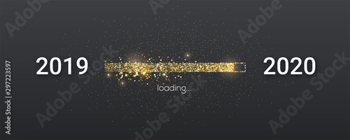 Fototapeta Golden loading bar with transition from 2019 to 2020 new year. Golden glittering dust on black background. Happy New Year card with progress bar. Vector illustration EPS10 obraz