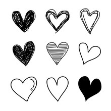 Set Vector Hand Drawn Hearts Black.  Scribble Hearts Isolated On White Background. Design Elements For Your Graphic Design.